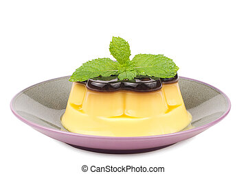 isolated Delicious egg pudding with mint in the dish, white...
