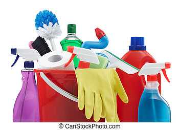 household equipment - variety of cleaning products against...