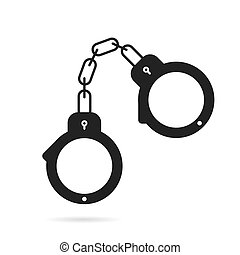 Handcuffs for policemen black icon - Vector icon of...