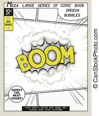 Boom. Explosion in comic style with lettering and realistic...
