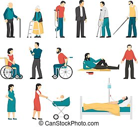 Disabled People Set - Set of disabled people including blind...