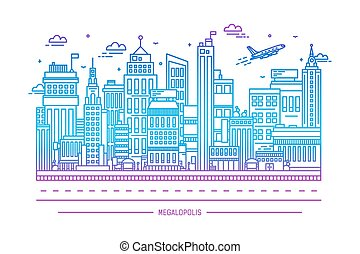 megalopolis, big city life, contour line art illustration -...