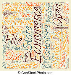 OS Commerce text background wordcloud concept