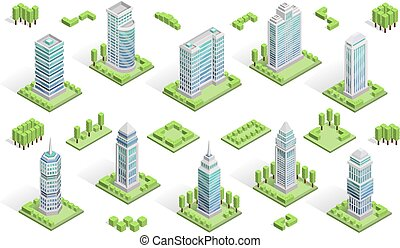 City Houses Composition - City houses isometric composition...