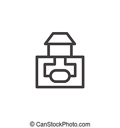 Sewerage system line icon isolated on white. Vector...