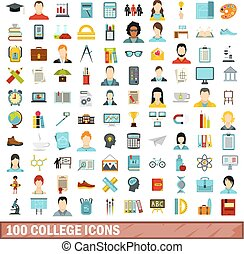 100 college icons set, flat style
