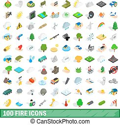 100 fire icons set, isometric 3d style