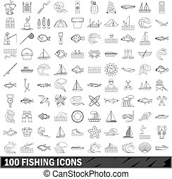 100 fishing icons set, outline style - 100 fishing set in...