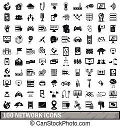 100 network icons set, simple style - 100 network icons set...