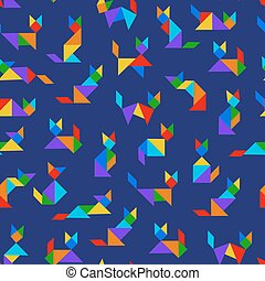 tangram cats - Seamless pattern with tangram cats on dark...
