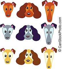Dog's faces 01 - Dog heads - swinging in three color...