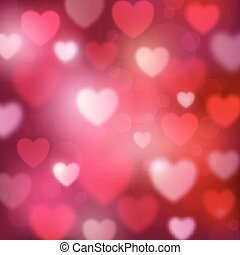 Abstract romantic red background with hearts and bokeh lights