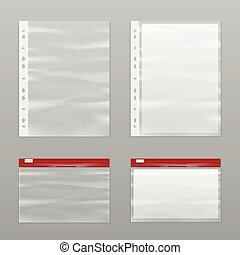 Full Paper And Empty Plastic Bags Icon Set - Colored full...