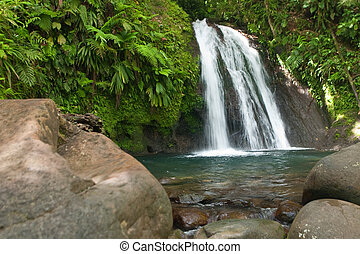 Waterfall on the Guadeloupe island