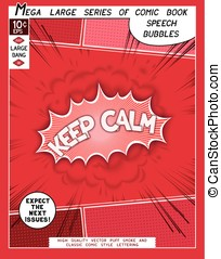 Keep calm. Explosion in comic style with lettering and...