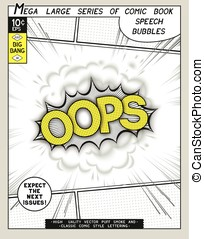 Oops. Explosion in comic style with lettering and realistic...