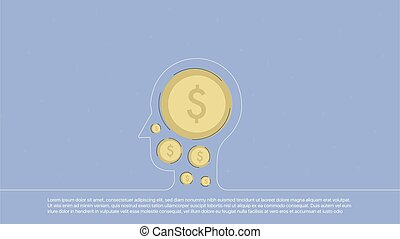 Background with money inscribed in line head. Concept...