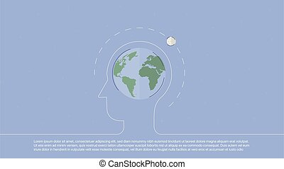 Background with planet inscribed in line head. Concept...