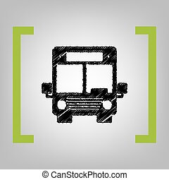 Bus sign illustration. Vector. Black scribble icon in citron...