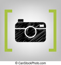 Digital photo camera sign. Vector. Black scribble icon in...
