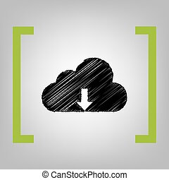 Cloud technology sign. Vector. Black scribble icon in citron...