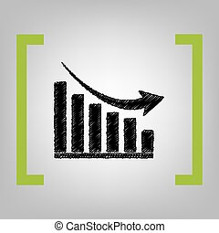 Declining graph sign. Vector. Black scribble icon in citron...