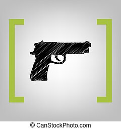 Gun sign illustration. Vector. Black scribble icon in citron brackets on grayish background.