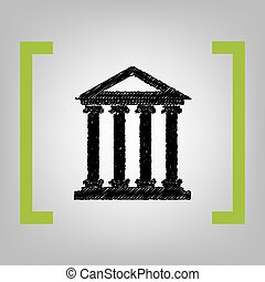 Historical building illustration. Vector. Black scribble icon in citron brackets on grayish background.