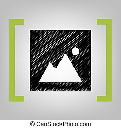 Image sign illustration. Vector. Black scribble icon in...