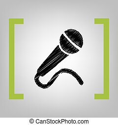 Microphone sign illustration. Vector. Black scribble icon in...