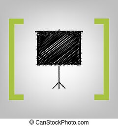 Blank Projection screen. Vector. Black scribble icon in...