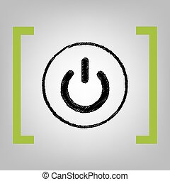 On Off switch sign. Vector. Black scribble icon in citron...