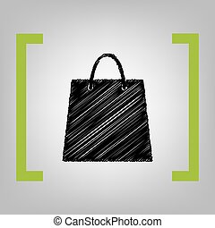 Shopping bag illustration. Vector. Black scribble icon in...