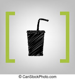 Drink sign illustration. Vector. Black scribble icon in...