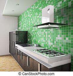 Modern black kitchen interior 3d - Modern black kitchen over...