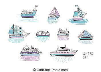 Set of different isolated doodle ships, yachts, boats, sailing craft, sailboat, nautical vessel. Sea transport collection. Hand drawn illustration.