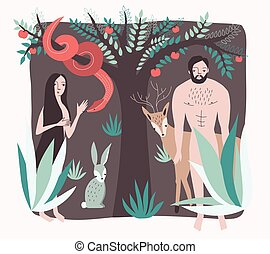 First people. Vector illustration lost paradise flat style....