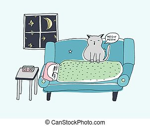The cat wakes the owner, meowing at night. Cute hand drawn...