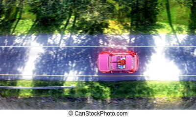 abstract cartoon car traveling with a roof rack on a...