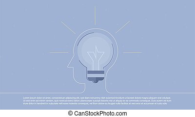 Background with lightbulb inscribed in line head. Concept...