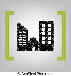 Real estate sign. Vector. Black scribble icon in citron...