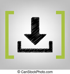 Download sign illustration. Vector. Black scribble icon in...