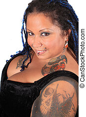 Beautiful tattoed pierced woman - Pretty overweight tattooed...