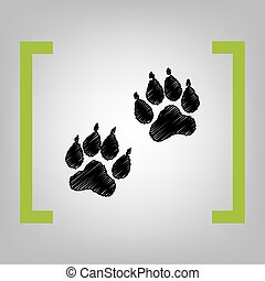 Animal Tracks sign. Vector. Black scribble icon in citron...