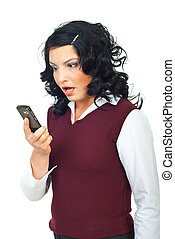 Woman looking shocked to phone mobile - Woman holding a...