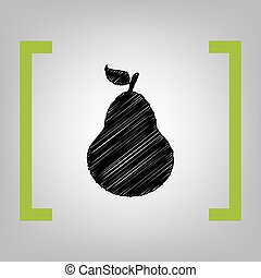 Pear sign illustration. Vector. Black scribble icon in...