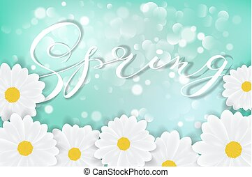 White daisy chamomile flowers on blue sunny sky background with bokeh vector illustration