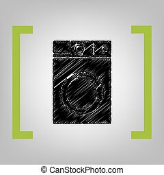 Washing machine sign. Vector. Black scribble icon in citron...