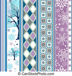 Seamless striped christmas border with snowflakes and...