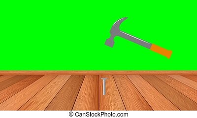 Hammer hits nails. Hand saw sawing a Board. The chroma key.